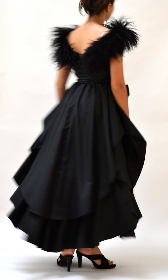 80s Vintage Black Party Dress With Feathers Boa Sleeves Size