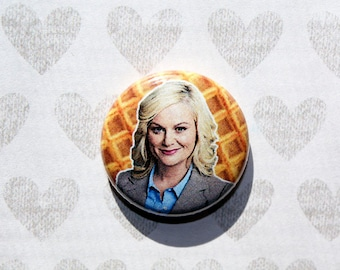 Leslie Knope Parks and Recreation Amy Poehler- One Inch Pinback Button Magnet