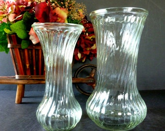 Vintage Hoosier Clear Fluted Glass Vases Two Piece Graduated Set 4090 and 4083