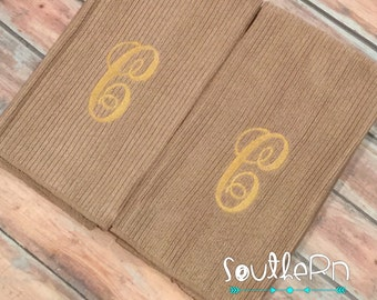 Monogram Hand Towel Set Hostess gift bridemaids gift wedding gift bridal shower gift