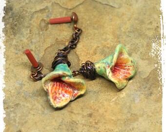 Artisan Polymer Clay Flower Earrings, Lily Earrings, Primitive Floral Earrings, Rustic Bohemian Earrings, Mexican Folk Art Earrings, OOAK,