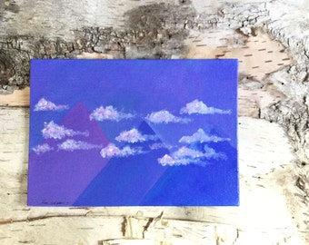 SALE Acrylic Painting Abstract Landscape Painting 5x7 Canvas Panel Clouds Purple Blue Pyramids Mountain Fantasy Landscape Periwinkle