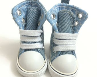 Fashion Doll Shoes Sneakers for Dolls 5CM,Canvas Shoes for BJD Dolls Accessories, Mini Textile Doll Boots 1/6 Denim Sneakers for Fabric Doll