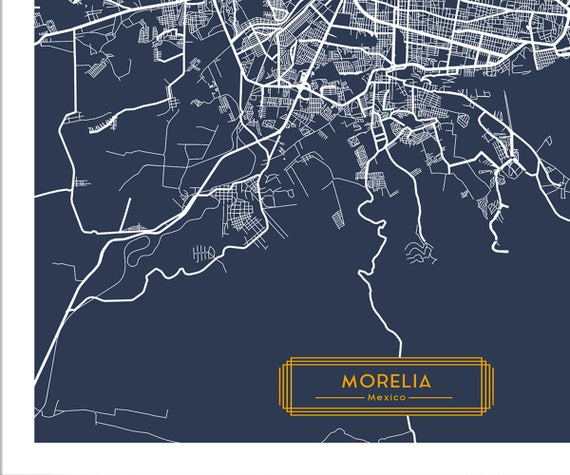 MORELIA Mexico CANVAS Large Art City Map Morelia Mexico Art