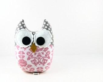 Light Pink Damask Gray Owl Plush Baby Toy Stuffed Animal