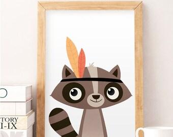 Racoon print, Cute animals, Animals wall art, Nursery decor, Animal nursery decor, Racoon wall art, Kids room decor, Wall art, Nursery print