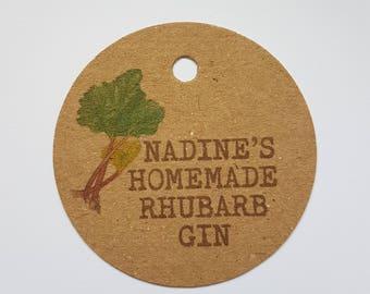 10x Personalised Homemade Rhubarb gin tags, handmade tags, bottle tags, homemade rhubarb tags, homemade tag, homemade gin tags, rhubarb gin