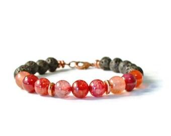 Lava Rock & Agate Essential Oil Diffuser Bracelet, Aromatherapy Jewelry