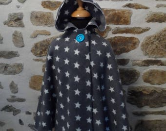Star Kids Cape with hood in polar pattern