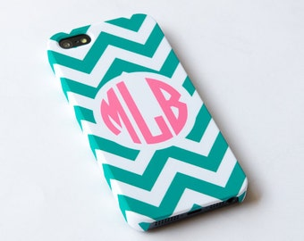 Personalized teal chevron iphone 4s Case, Monogrammed iphone 4 Cover, Hard iphone 4 Case - Monogrammed iphone case