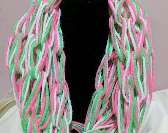 Tri-Color Loose Knit Infinity Scarf