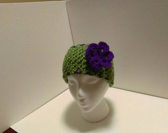Green and purple ear warmer