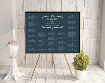 Wedding Seating Chart (Simplicity) - Digital File, DIY, Printable, PDF, Bracket, Blue, Gray, Silver, Alphabetical, Table Number, Customize