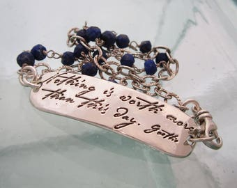 Nothing is Worth More, Silver Inspiration Bracelet with Blue Lapis