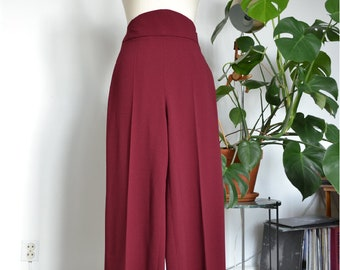 High Waist Swing Dance Trousers - Burgundy