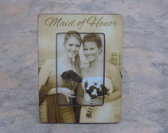 Personalized Maid of Honor Picture Frame, Unique Sister Gift, Custom Wedding Photo Frame, Parents Gift