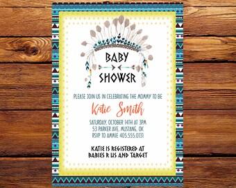 Little Chief Baby Shower Invitation, Headdress Baby Shower Invitation, Tribal Native American Baby Shower Invite, Aztec Baby Shower Invite