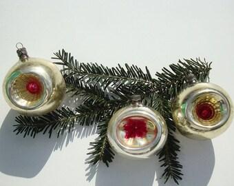 Glass Christmas indent ornaments vintage Christmas tree decorations mercury glass balls deep indented glass ornaments Christmas vintage