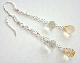 Citron Earrings, Citrine Green Quartz Silver Chain Earrings, Citrine Drop Earrings, Green Quartz Jewelry, Gemstone Cascade Earrings
