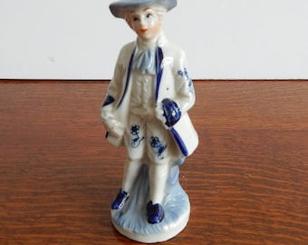 Vintage Blue and White Porcelain Figurine. Good Condition,Retro,Boho. Figurine, figures