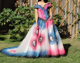 Large size 12 hand painted skeleton wedding dress / dia de los muertos / day of the dead /  halloween costume gown / sugar skull