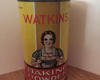 Vintage Watkins Baking Powder Tin Winona, Minnesota VERY NICE