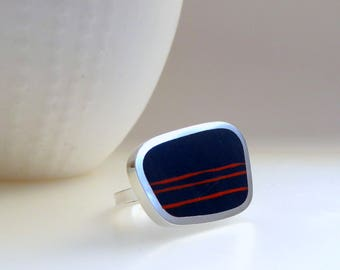 Inky Blue Statement Ring - Big Bold Ring - Modern Silver & Resin Ring - Mid-Century Shape - Striped  Ring - Graphico Landscape Ring Stripes