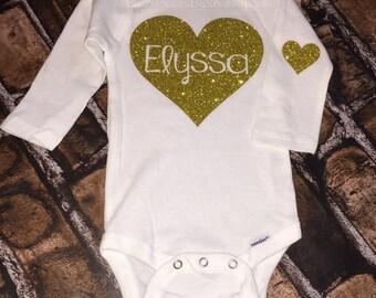 Personalized Baby shirt bodysuit- Gold Glitter Heart