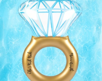 Engagement Ring Pool Float, Bachelorette Party, Bride to Be, Bridal Shower Gift, Bachelorette Getaway, Pool Float, Can Holder