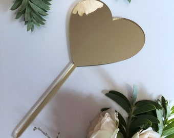 All That Glitters Is Gold Love Heart Cake and Plant Topper • Gold Mirror Laser Cut Acrylic