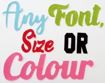 Felt Letters, Any Size, Any Font, Any Colour, Felt Alphabet, Fabric Letters