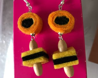 Quirky fun earrings orange yellow dangly earrings unique
