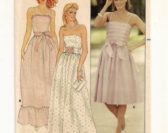 A Strapless or Strapped, Boned Bodice, Princess Seam, Flared Skirt Short or Evening Length Dress Pattern for Women: Size 8 • Butterick 4993