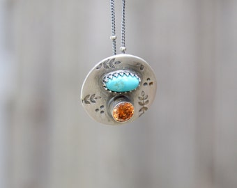 Kingman Turquoise Sterling Necklace. Faceted Amber Crystal. Handmade . Gem Stones . Fine Silver . Rustic . Earthy . Boho .