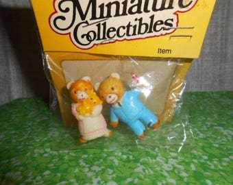 Two  Miniatures Ma and Pa Bear-Old Store Stock-