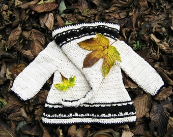 Instant download PDF crochet pattern - Lutin Marguerite, hooded cardigan in baby and toddler sizes - Easy crochet