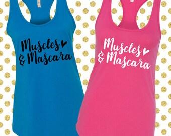 Muscles and Mascara Tank Top. Muscles and Mascara Shirt. Workout Tank. Gym Shirt. Gym Tank. Yoga Shirt. Fitness Shirt Fitness Tank (32118)
