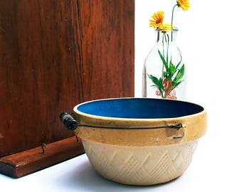 Stoneware Crock Bowl with Wire Bail Handle / Blue Glazed Interior / Vintage Kitchen /  Farmhouse Decor / Milk Pail / Country Cottage Decor
