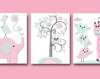 Elephant Nursery Giraffe Nursery Wall Decor Baby Girl Nursery Art Print Children Wall Art Baby Room Decor Kids Print set of 3 Pink Aqua