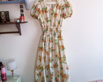 70s cream long dress, cute orange & yellow floral print / xsmall - small
