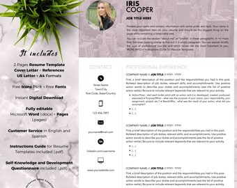 Creative and Professional Resume Template CV for Word and Pages (2 Pages + Cover Letter + References + Fonts + Icons) Instant Download