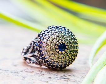 Sterling silver ring, evil eye ring, engagement ring, boho ring , statement ring