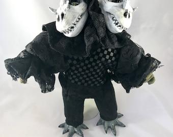 Little Bits of Woe OOAK fine art doll: Two-Headed Bearded Dragon Skulls Boy in Lace & Velvet (Gothic, Skull, Surreal Art Doll)