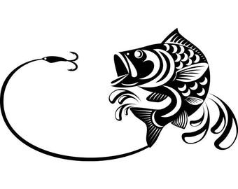Line Art Of Fish : Bass fishing 5 logo angling fish hook fresh water hunting