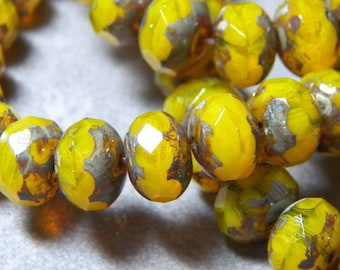 Czech Opal Yellow with Picasso 8x6mm Faceted Fire Polished Glass Rondelle Beads (25) 036