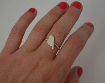 Silver Bird Ring, Silver Ring, Minimal Silver Ring, Stacking Ring, Stackable Ring, Ring for Girl, Bird Ring, Bird Jewelry, Silver Bird Ring