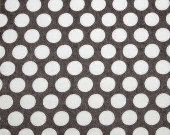 Minky fabric, velvet fabric with polka dots, white grey minkee with coupon