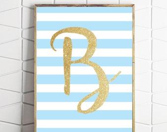 letter B name art, nursery print, typography poster, monogram print, baby shower gift, baby blue art, letter B, baby name print
