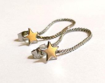 Vintage Silver Star Chain Stud Earrings
