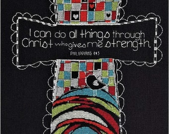 Bucilla Counted Cross Stitch Kit: I Can Do All Things Through Christ Who Gives me Strength
